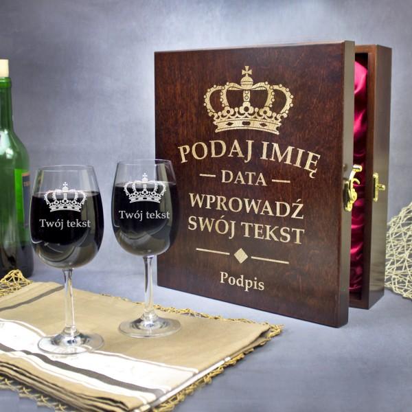 Elegancka Skrzynka Na Wino Grawer Prezent Urodzinowy Dla Niego