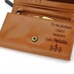 skórzany portfel z grawerem na prezent na urodziny dla niej