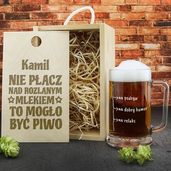 kufel do piwa w skrzynce z personalizacją