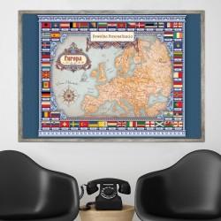mapa europy w ramie na prezent dla niego