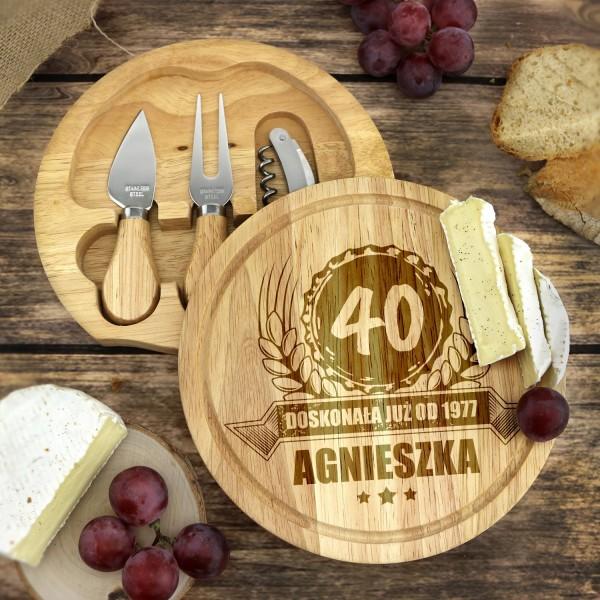 prezent urodzinowy z grawerem zestaw do sera
