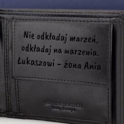 skórzany portfel z grawerem i pasek na prezent dla męża